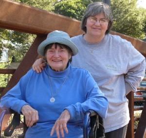 Carol Wright and her mom on a bridge