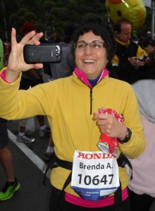 Brenda Avadian at the start of the LA Marathon