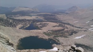 Looking down from Army Pass onto Cottonwood Lakes while Smoke from Fires Obscures View