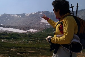 Brenda Avadian pointing to the ridge line - New Army Pass
