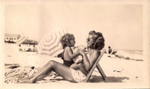 Baby Kathie with her mom at the beach