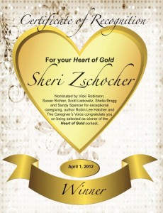 Sheri Zschocher receives the Heart of Gold Certificate
